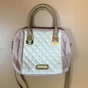 Steve Madden / Quilted Leather Pink + White Purse